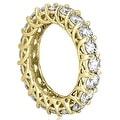 14K Yellow Gold 5.10 cttw. Round Diamond Eternity Ring HI,SI1-2 - Thumbnail 2