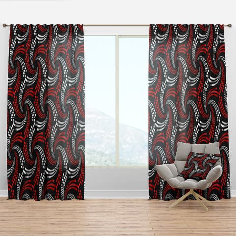 Designart 'Retro red and white dotted spirals' Mid-Century Modern Curtain Panel