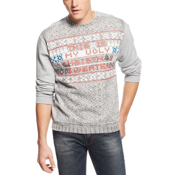 american rag my ugly christmas sweater light grey heather and red crewneck - My Ugly Christmas Sweater