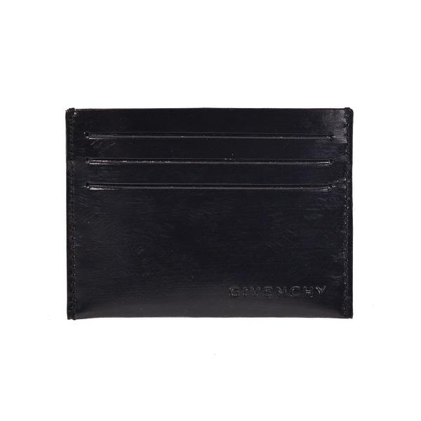 Givenchy Black Leather Air Brushed Effect Cardholder Wallet