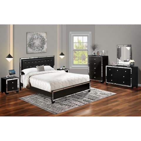 6-Pieces King Bedroom Set with Light Up headboard-Bed ,Dresser, Mirror, Chest & 2 Nightstands-Black Faux Leather Headboard
