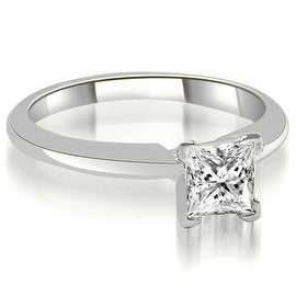 0.50 cttw. 14K White Gold V-Prong Princess Diamond Solitaire Engagement Ring