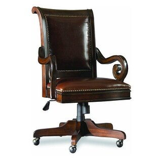 Hooker Furniture 374-30-220  Adjustable Height Cherry Wood and Leather Office Chair from the European Renaissance II Collection