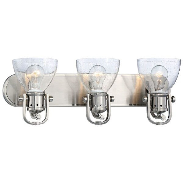 Minka Lavery 3413-84 3 Light Vanity Light from the Seeded Bath Art Collection - Brushed nickel