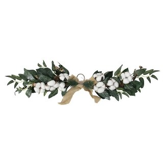 """25.5"""" White Winter Flowers and Foliage Twig Swag - Unlit - green"""