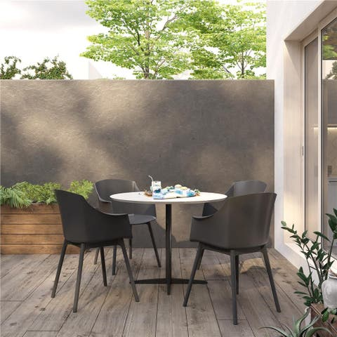 CosmoLiving by Cosmopolitan Camelo Indoor/Outdoor Resin Dining Chair (2-Pack) - N/A