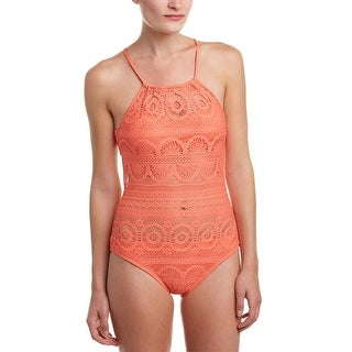 Kenneth Cole Reaction Crochet Womens One-Piece Swimsuit Coral Orange Large L