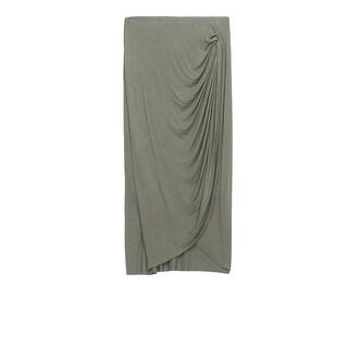 Bobeau Reiley Side Gather Solid Skirt