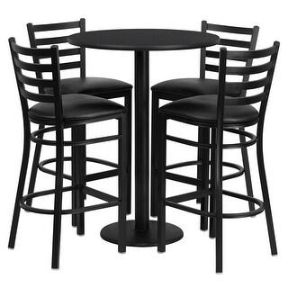 "Dyersburg Round 30"" Black Laminate Bar/Pub Table Set w/4 Ladder Back Metal Barstools (Black Vinyl Seat)"