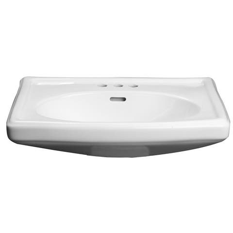 """PROFLO PF14108 27"""" Widespread Lavatory Pedestal Sink with 8"""" Faucet - White"""