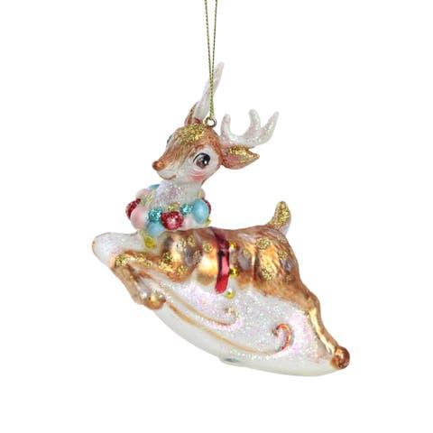 "5.25"" White Glittered Reindeer with Neck Wreath Glass Christmas Ornament"