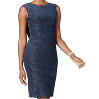 Jessica Howard Blue Womens Size 14 Metallic Cowl-Back Sheath Dress
