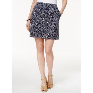 Karen Scott Petite Paisely-Print Skirt, Intrepid Blue , Size 14P