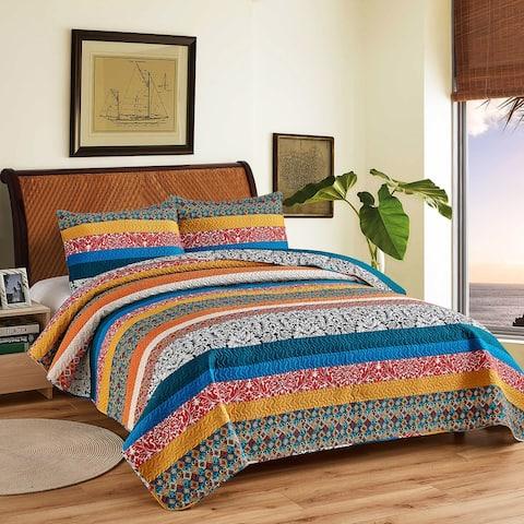 Boho Stripe Quilt Reversible 3 Piece Bohemian Design Bedding Set