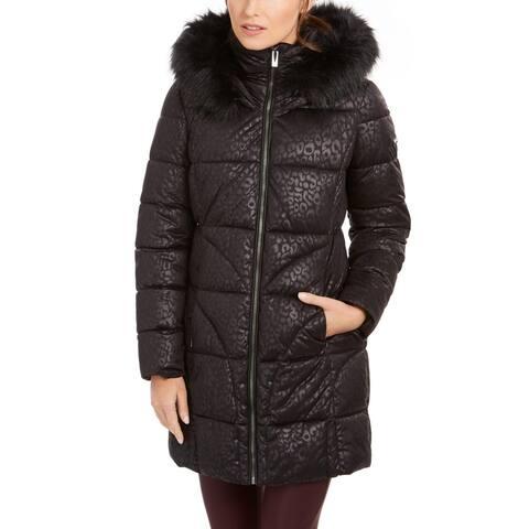 Via Spiga Women's Leopard Print Faux Fur Trim Hooded Winter Puffer Coat - Black