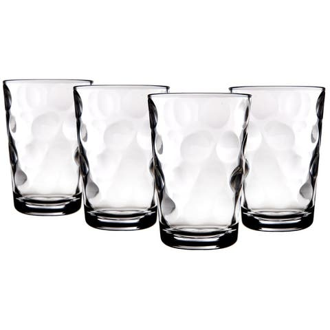 Palais Glassware Cercle Collection; High Quality Clear Glass Set with Circle Design (Set of 4 - 7 Oz Juice Glasses, Clear)