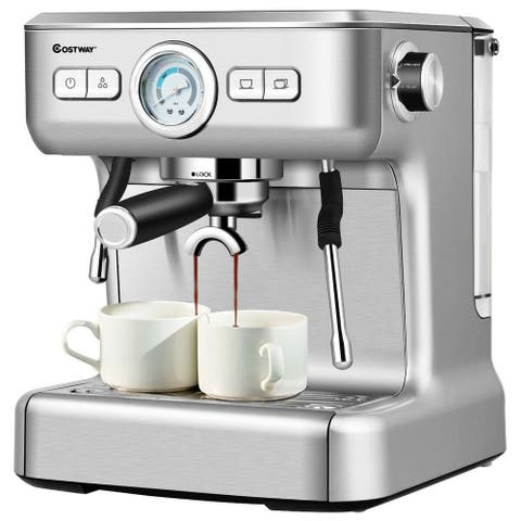 "15 Bar Semi-Auto Espresso Coffee Maker Machine /w Milk Frother Steam Wand - Silver - 13.5"" x 13"" x 15.5"" (L x W x H)"