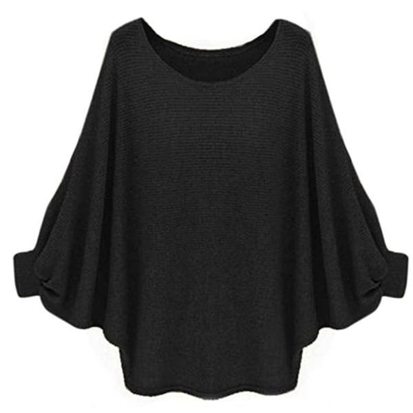 Shop Womens Oversized Batwing Knitted Pullover Loose Sweater