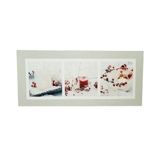 "LED Lighted Winter Frost and Berry Burst Christmas Canvas Wall Art 11.75"" x 27.5"""