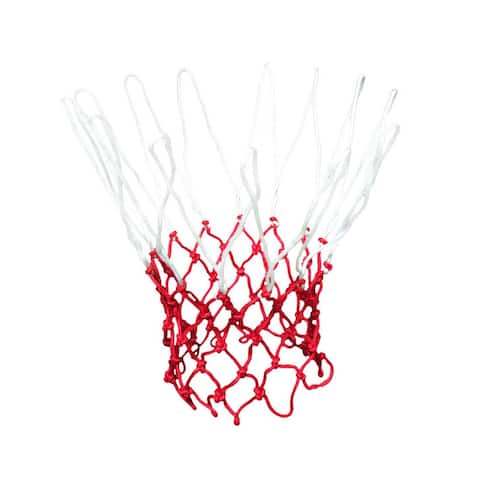 """Unique Bargains 18"""" Long Fashion Style Nylon Basketball Net White Red 13 Loops - White, Red"""