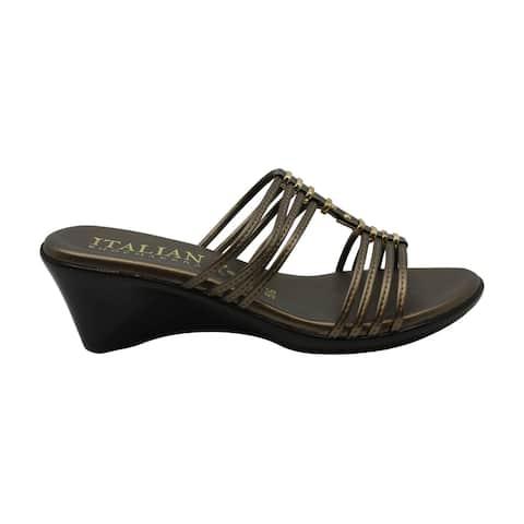 ITALIAN Shoemakers Womens Leona_ Leather Open Toe Casual Platform Sandals