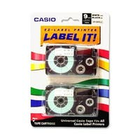 Casio XR9WE2S Casio Label Tape - 0.37  Inch Width x 26 ft Length - White - 2 / Pack