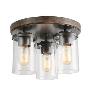 "Link to LNC Farmhouse 3-Light Faux Wood Finish Flush Mounts Ceiling Lighting - D11.8"" x H8.3"" Similar Items in Semi-Flush Mount Lights"