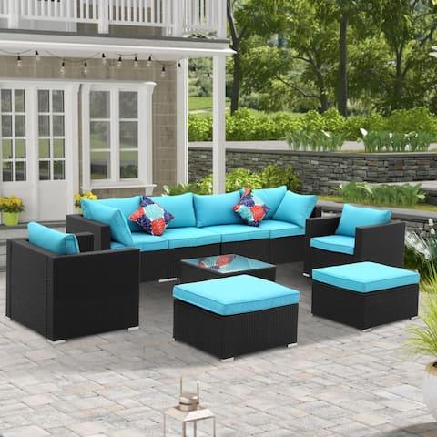 Ainfox 9 Pcs Rattan Sofa Sectional Set