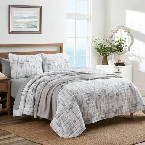 Nautica Clipper Cotton Reversible Grey Quilt Set