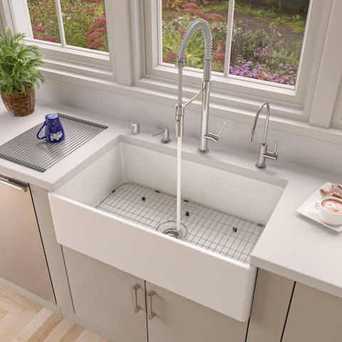 "ALFI brand AB533-W 33"" White Smooth Apron Single Bowl Fireclay Farm Sink"