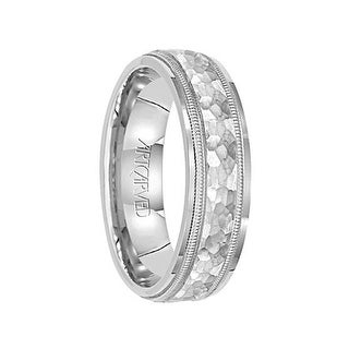 WAVE CREST 14k White Gold Wedding Band Flat Hammered Finish with Milgrain Pattern Edges by Artcarved - 5mm