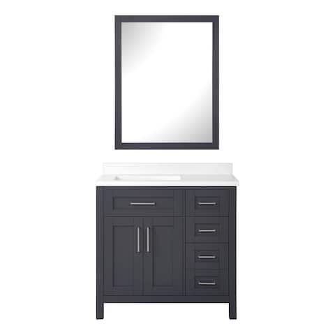 OVE Decors Tahoe 36 in. Dark Charcoal Vanity with 1 Mirror included