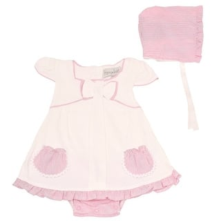 d5f9dcd5a55 Harry   Violet Baby Girls Ivory Pink Ruffle Dress Bodysuit Hat 2 Pc Set