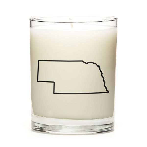 State Outline Soy Wax Candle, Nebraska State, Peach Belini