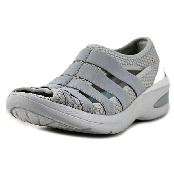 BZees Revival Women Open-Toe Canvas Gray Sport Sandal