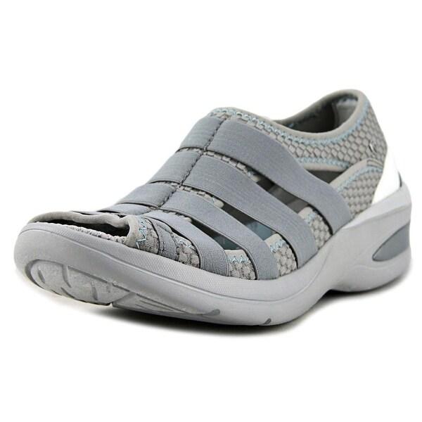 BZees Revival Women W Open-Toe Canvas Gray Sport Sandal