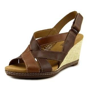 Clarks Helio Coral Women Open-Toe Leather Brown Slingback Sandal