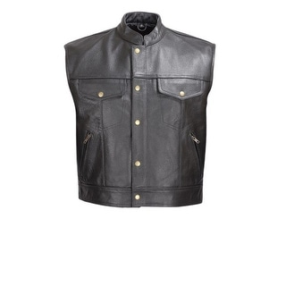 Men Leather Motorcycle Biker Vest Classic Design Black by Xtreemgear MBV110