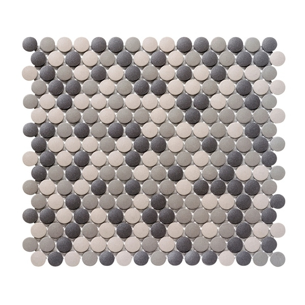 Emser Tile W71ZONE1212MOP Zone - Round Penny Mosaic Floor and Wall Tile - Matte Floor and Wall Tile Visual