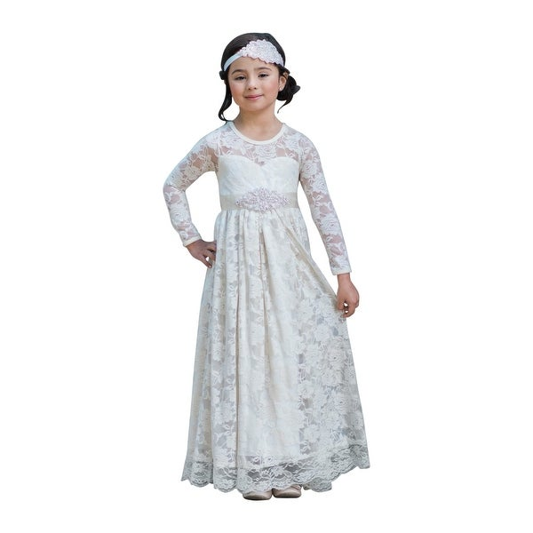 7cdc35399f Shop Little Girls Ivory Sash Lace Cut-Out Back Floor Length Flower Girl  Dress - Free Shipping Today - Overstock - 23079911