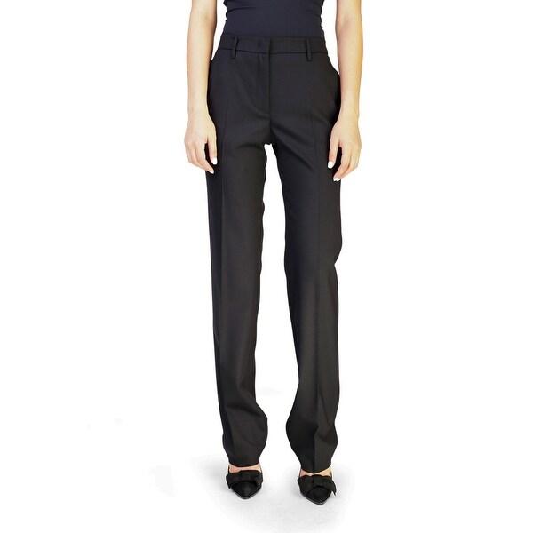 Prada Women's Virgin Wool Slim Straight Pants Black