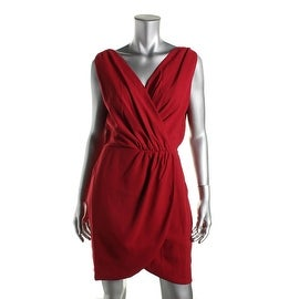 Adelyn Rae Womens Ruched Surplice Cocktail Dress - S