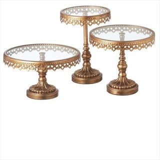 """Set of 3 Vintage Gold Scroll Accented Round Pedestal Stands 11"""""""