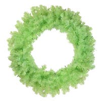 "36"" Pre-Lit Chartreuse Green Wide Cut Artificial Christmas Wreath - Green Lights"