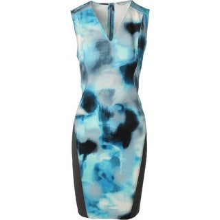 T Tahari Womens Petunia Scuba Dress Printed V-Neck