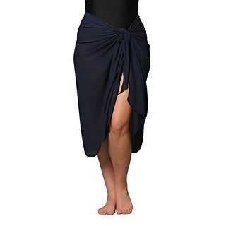 Plus Size Long Navy Swimsuit Sarong Cover up with Built in Ties