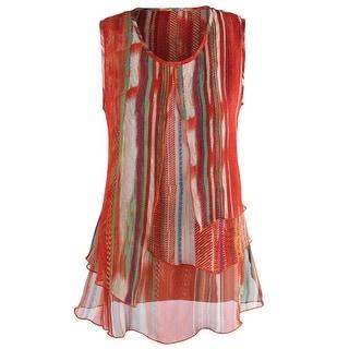 Women's Sleeveless Tunic - China Red Long Tank Top Blouse