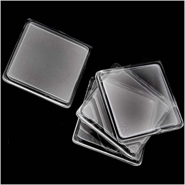 Clear Glass Jewelry Pendant Tiles Square 30mm (4)
