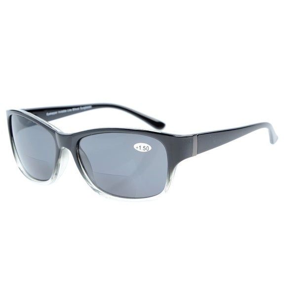 Eyekepper Bi-Focal SunReaders Fashion Bifocal Sunglasses Black-Clear/Grey Lens +1.50