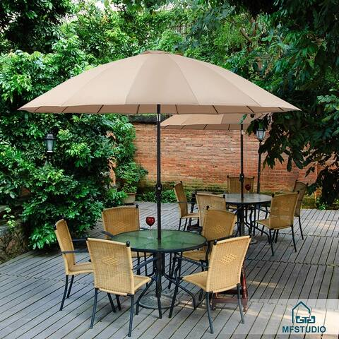 PHI VILLA 10ft Outdoor Patio Umbrella 16 Fiberglass Ribs with Push Button Tilt & Crank, Market Umbrella for Garden Terrace Pool